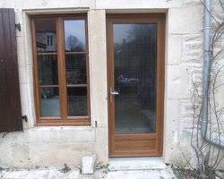 Menuiserie Gruet - Châtillon-sur-Seine - Porte d'entrée PVC 1 vantail vitrage feuilleté et fenêtre PVC 2 vantaux